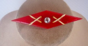 An unusual Vintage Bakelite and Chrome Brooch